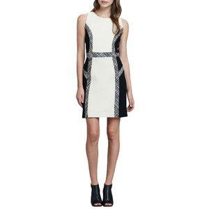 Milly Tweed-Trim Wool Dress Back/Ivory 4